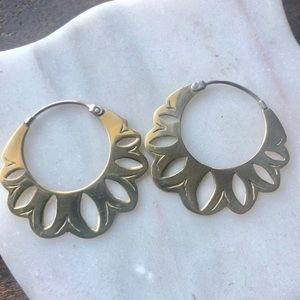 Jewelry - NEW Modern Tribal handmade brass s/s earrings